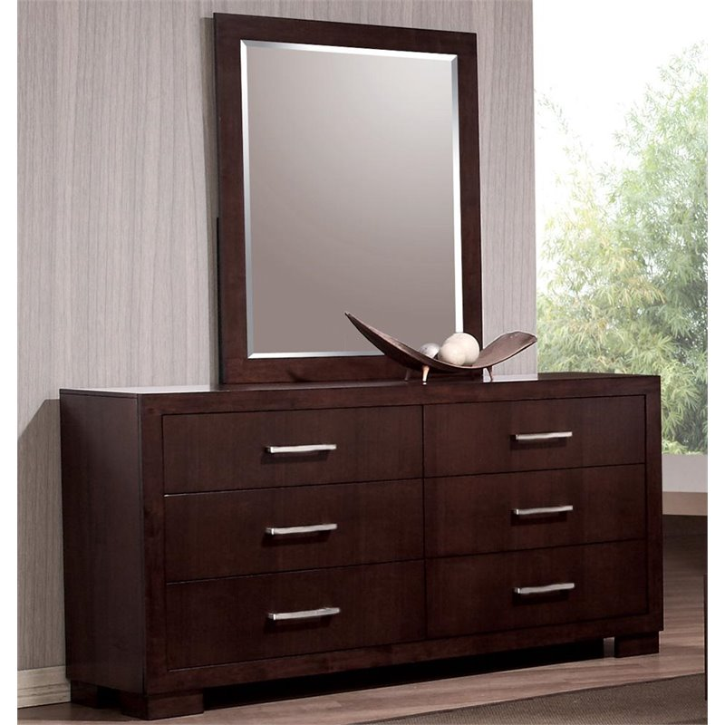 Coaster Jessica Dresser and Mirror Set in Light Cappuccino