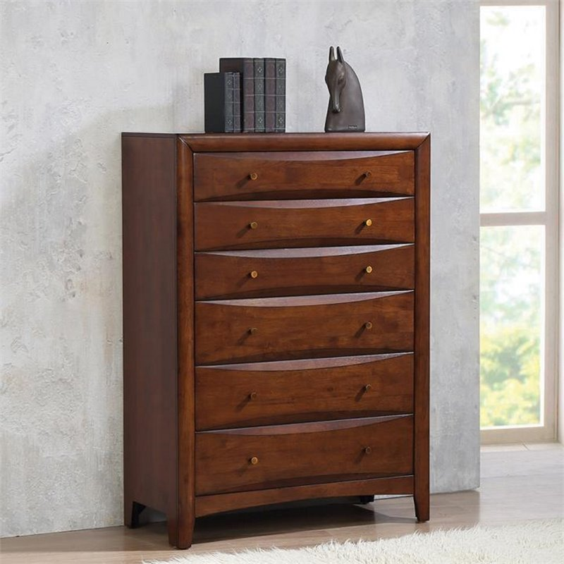 Coaster Hillary and Scottsdale 6 Drawer Chest in Warm Brown Finish