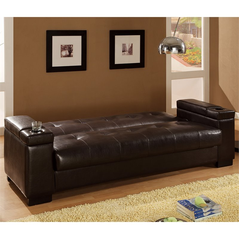 Coaster Faux Leather Convertible Sofa Sleeper with Storage in Brown