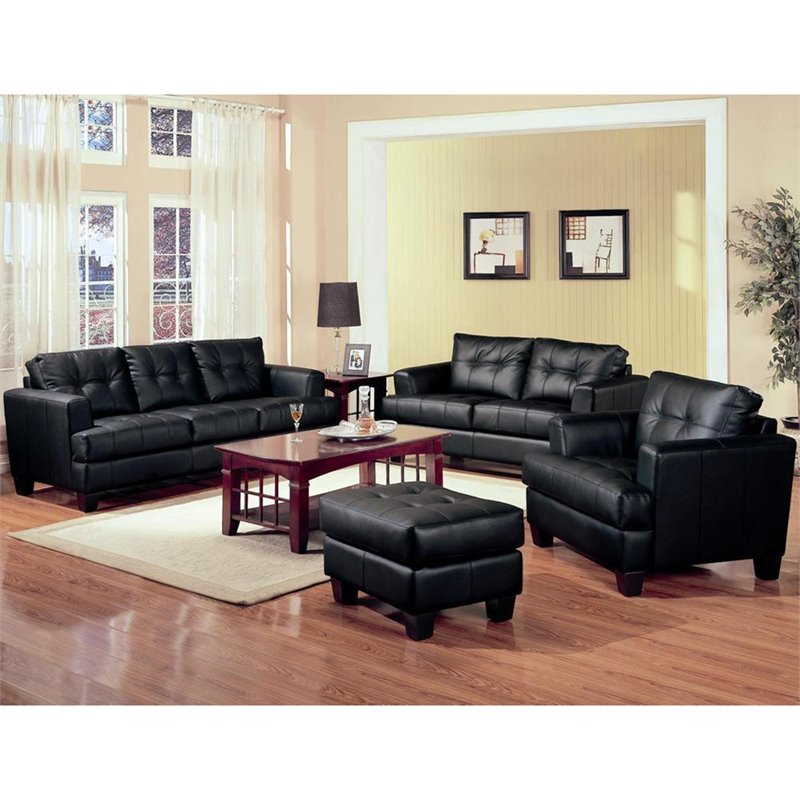 Black Leather Sofa Bed Ebay: Living Room Furniture Sofa Couch Black Leather Blended