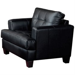 Coaster Samuel Tufted Leather Club Chair in Black