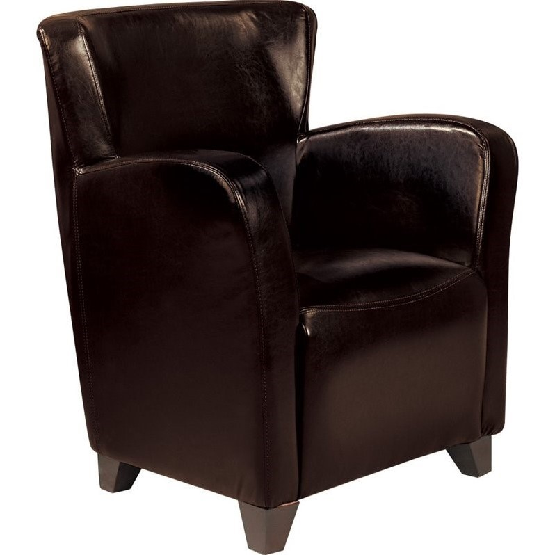 Coaster Accent Faux Leather Club Chair in Brown