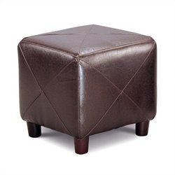 Coaster Contemporary Faux Leather Cube Ottoman in Dark Brown