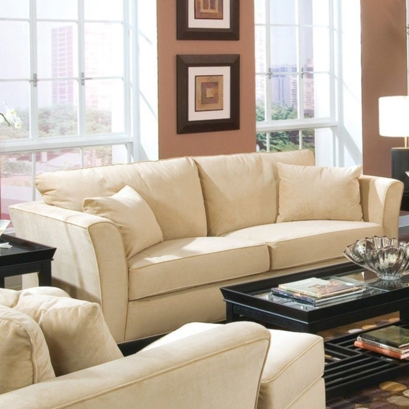 Park Place Contemporary Sofa with Flair Tapered Arms and Accent Pillows