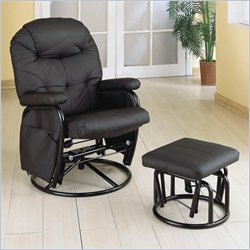 Coaster Leatherette Recliner Glider with Ottoman in Black