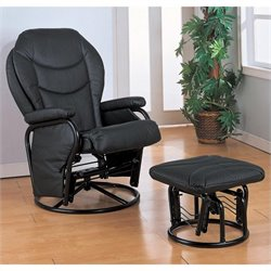 Coaster Black Leatherette Glider with Ottoman