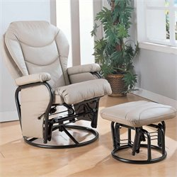 Coaster Leatherette Recliner Glider Chair with Ottoman in Solid Bone