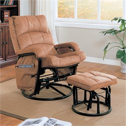 Coaster Glider with Ottoman in Tan