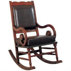 Coaster Traditional Wood Rocker with Brown Bicast Leather Seat and Back