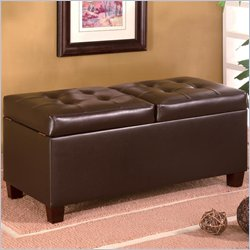 Coaster Contemporary Dark Brown Faux Leather Rectangular Storage Ottoman
