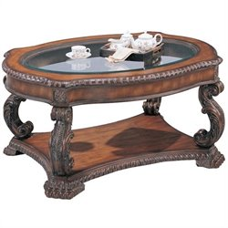 Coaster Doyle Traditional Oval Cocktail Table with Glass Inlay Top in Antique Brown