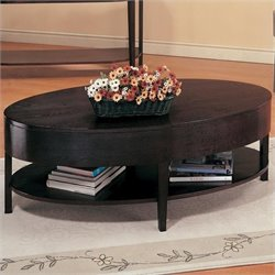 Coaster Gough Oval Coffee Table with Shelf in Cappuccino Finish