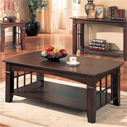 Coaster Abernathy Rectangular Coffee Table with Shelf in Cherry