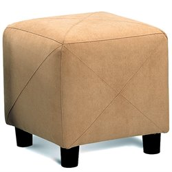 Coaster Contemporary Microfiber Cube Ottoman in Taupe