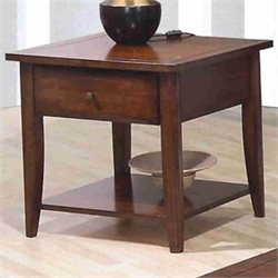 Coaster Walnut Whitehall End Table with Shelf & Drawer