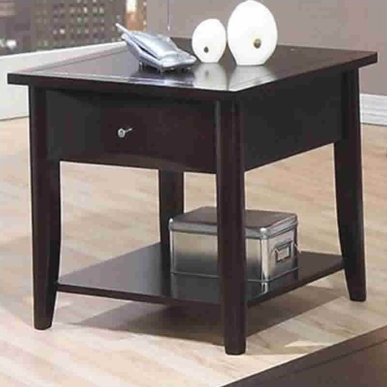 Coaster Whitehall End Table with Shelf & Drawer in Cappuccino
