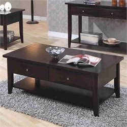Coaster Whitehall Coffee Table w/th Shelf and Drawers in Cappuccino