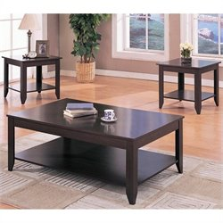 Coaster Contemporary 3 Piece Occasional Table Set in Cappuccino with Shelves