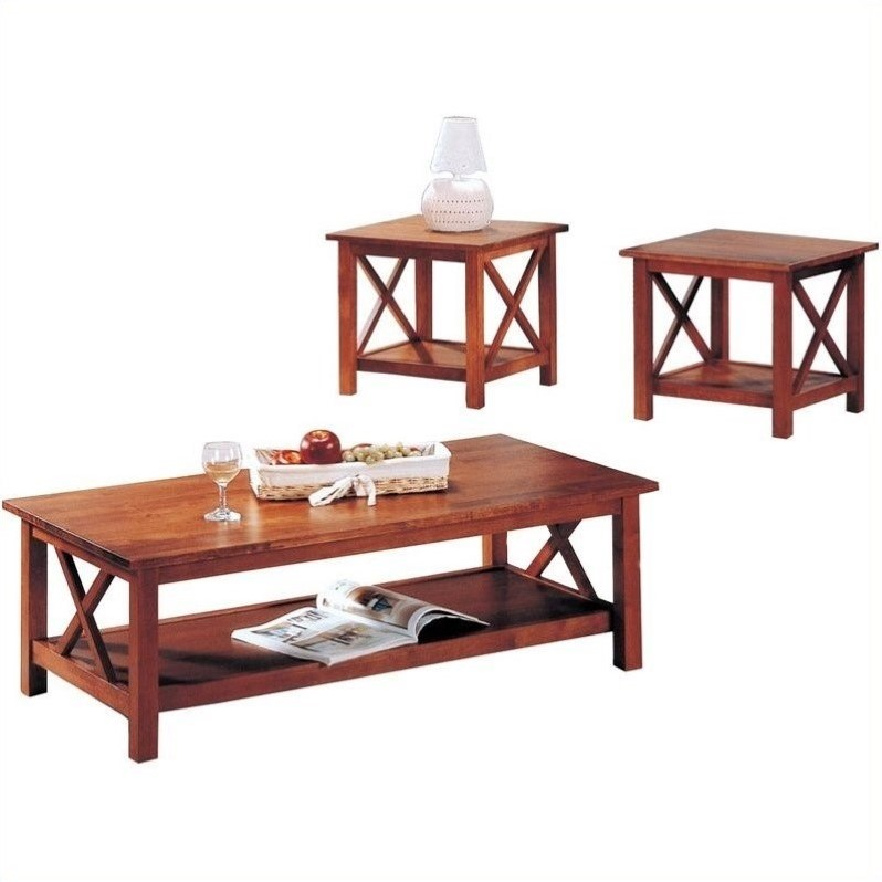 Coaster Briarcliff Casual 3 Piece Occasional Table Set In Medium Brown 5907
