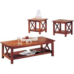 Coaster Briarcliff Casual 3 Piece Occasional Table Set in Medium Brown
