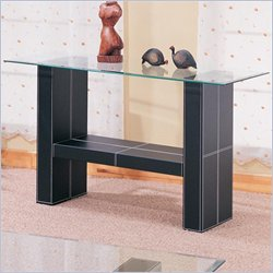 Coaster Williams Contemporary Sofa Table with Bonded Leather Base and Glass Top