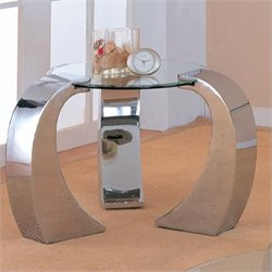 Coaster Custer Chrome End Table with Glass Top