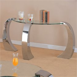 Coaster Custer Chrome Sofa Table with Metal Base and Curved Glass Top