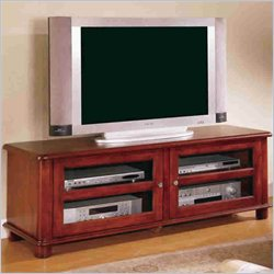 Coaster Light Walnut Transitional Media Console with Doors and Shelves