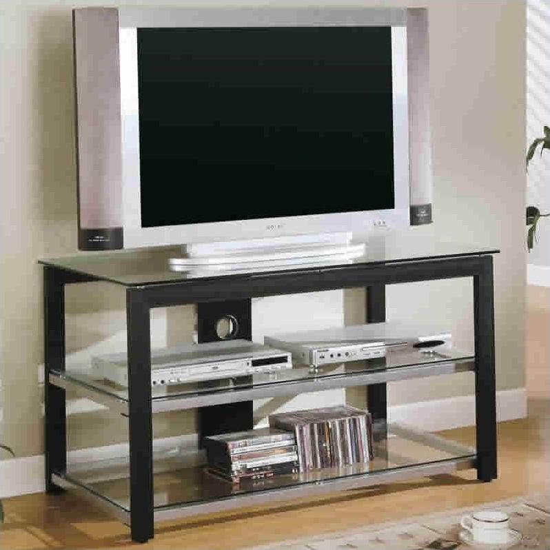 Black and Silver Contemporary Metal and Glass Media Console