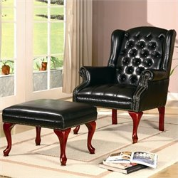 Coaster Wing Back Tufted Faux Leather Arm Chair and Ottoman in Black