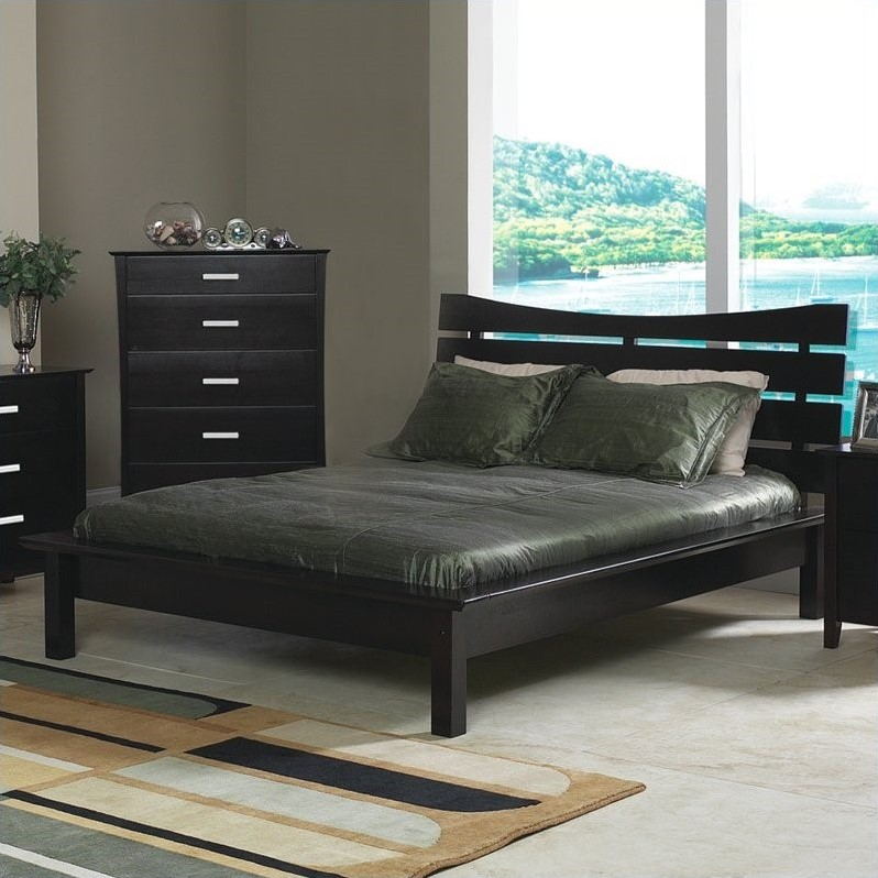 Cappuccino Brown Queen Platform Bed