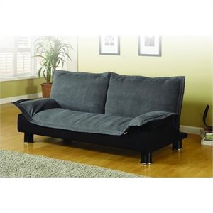 Coaster Convertible Microfiber Sofa Bed in Gray and Black
