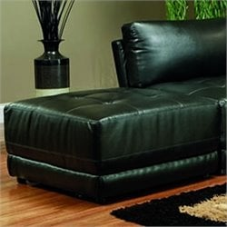 Coaster Kayson Contemporary Square Leather Ottoman in Black
