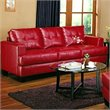 Coaster Samuel Modern Tufted Leather Sofa in Red