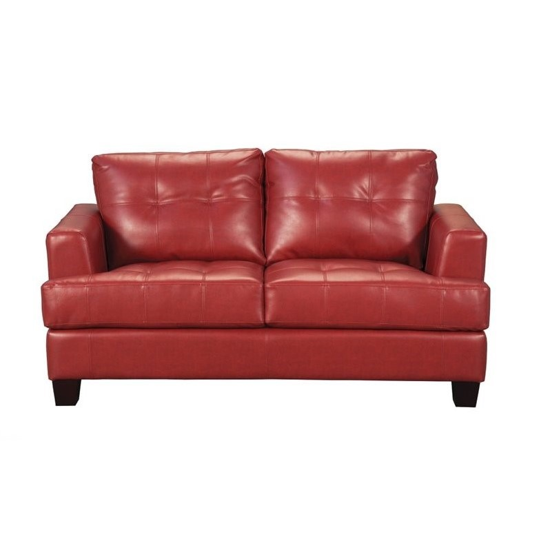Coaster Samuel Modern Tufted Leather Loveseat In Red 501832