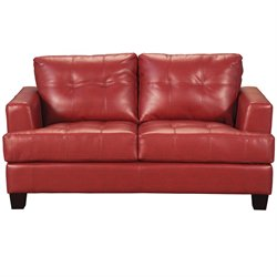 Coaster Samuel Modern Tufted Leather Loveseat in Red