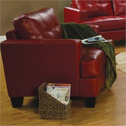 Coaster Samuel Tufted Leather Club Chair in Red