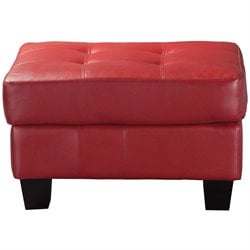 Coaster Samuel Modern Tufted Square Leather Ottoman in Red