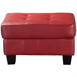 Coaster Samuel Modern Tufted Square Ottoman in Red Bonded Leather