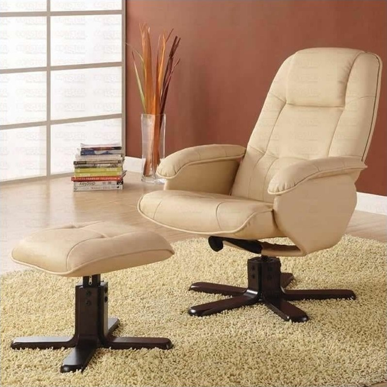 Swivel Bonded Leather Match Leisure Chair and Ottoman Set in Ivory