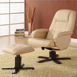 Coaster Swivel Bonded Leather Match Leisure Chair and Ottoman Set in Ivory