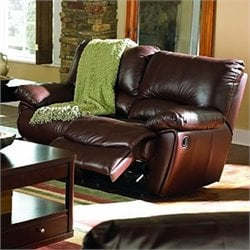 Coaster Clifford Double Reclining Leather Loveseat in Brown