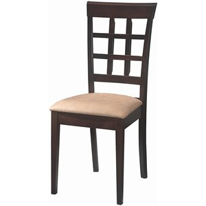 Coaster Hyde Wheat Back  Dining Chair with Fabric Seat in Cappucino
