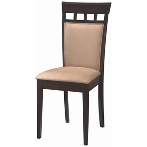 Coaster Hyde Upholstered Back Panel  Dining Chair with Fabric Seat in Cappuccino