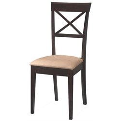 Coaster Hyde Cross Back Dining Chair with Fabric Seat in Cappuccino Finish