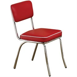 Coaster Cleveland Retro Dining Side Chair with Chrome Base and Red Cushions