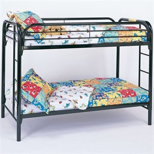 Coaster Toby Twin over Twin Metal Bunk Bed in Black Finish