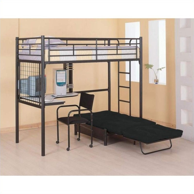 Coaster max twin over futon metal bunk bed with desk in Black bunk beds
