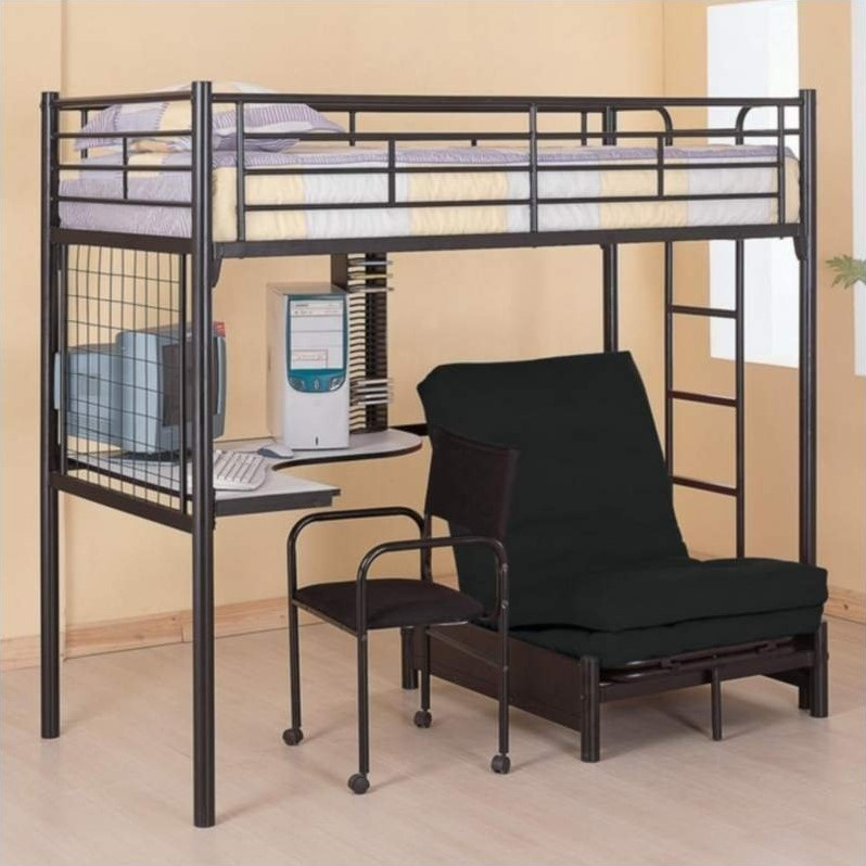 Coaster Max Twin Over Futon Metal Bunk Bed With Desk In Black Finish