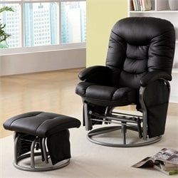 Coaster Leather Recliner with Ottoman